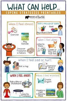 Kids coping strategies guide included in coping skills lesson, posters, art Feeling Blah, Feeling Stressed, Counseling Activities, Therapy Activities, Sorting Activities, Autism Activities, Social Emotional Learning, Social Skills, Anger Management