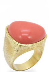 Gold Plated Coral Cocktail Ring