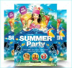 Summer Beach Party Flyer - Party Flyer Templates For Clubs Business & Marketing