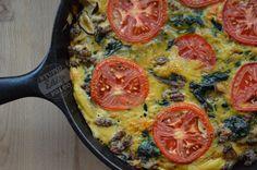 Ground beef, spinach, onion, mushroom and tomato frittata. #paleo #glutenfree #grainfree