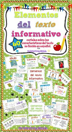 Elementos del texto informativo : A 42 pack of posters about various non fiction text features in spanish. Use for bilingual and dual language classrooms.