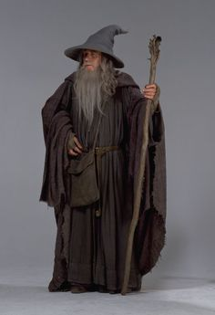 main characters-Gandalf the great is an older man with a long gray beard, long gray hair, and he wears tall pointy hats and carries a walking stick.Gandalf is a wise man who has the patience of a god, and he is extremely brave and daring. Wizard Costume, Movie Costumes, Halloween Costumes, Tolkien, Fellowship Of The Ring, Lord Of The Rings, John Howe, O Hobbit, Ian Mckellen