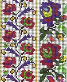 This Pin was discovered by Mel Folk Embroidery, Cross Stitch Embroidery, Embroidery Patterns, Cross Stitch Borders, Cross Stitching, Cross Stitch Patterns, Seed Bead Flowers, Blackwork Patterns, Loom Patterns