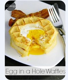Egg in a Hole Waffles with bacon