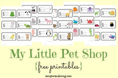 My Little Pet Shop Printables -Need to keep your little ones busy during school time? Let them set up a pet shop with their stuffed animals using these FREE printables.