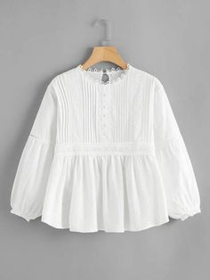 Free Returns ✓ Free Shipping On Orders $49+ ✓. Embroidered Detail Babydoll Blouse- Blouses at SHEIN.