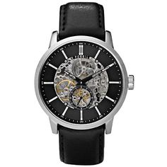 Fossil Watch -A window in the dial reveals the inner workings of this automatic mechanical watch. The rotor can be seen from the back of the watch. A classic leather strap finishes the look. No batteries required, ever. Automatic Watch, Fossil Watches For Men, Cool Watches, Men's Watches, Wrist Watches, Classic Leather, Black Leather, Skeleton Watches, Accessories