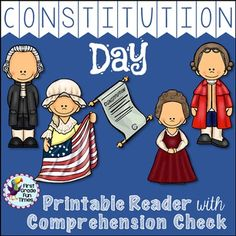 Constitution Day printable reader with two versions of the book for differentiation and three comprehension checks - one asking for complete sentence answers, one for them to circle their answers and a True/False response.