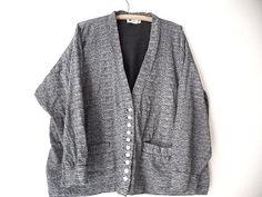 Cardigan Jacket Size Medium Slouch Grunge Coat Vintage 80s Abstract Cotton #OneStepUp #BasicCoat