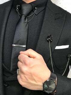 Paul Black Slim-Match Swimsuit - Suit World Blazer Fashion, Mens Fashion Suits, Mens Suits, Fashion Outfits, Prom Suits For Men, Dress Suits For Men, Brooch Men, Black Suit Men, Designer Suits For Men
