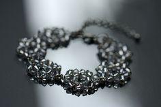 beaded bridal bracelet made from Swarovski crystal elements
