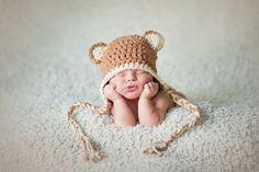 Organic Newborn Little Bear earflap  hat $34