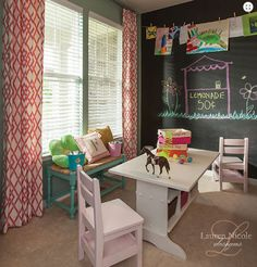 Emily A. Clark - design. simplified.  Chalkboard wall, drapes