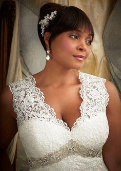 v neck court train lace a line plus size wedding dress wmr0084 c Wedding Dresses for Curvy Women you might like