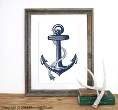 Anchor Screenprint. Pick Your Color by Monorail on Etsy, $20.00 Cute for a DHS grad present or a little boys room!