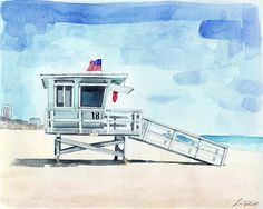 California Lifeguard Tower 2 Giclee Print of Watercolor $25 and up