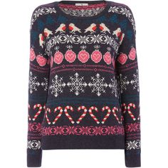 Blue Fairisle Robin Jumper ($24) ❤ liked on Polyvore featuring tops, sweaters, christmas jumper, heart pattern sweater, fair isle sweater, blue jumper y christmas tops