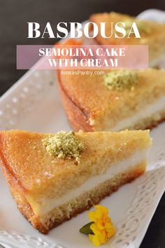 A gloriously creamy and moist semolina cake, stuffed with luscious cream drizzled with syrup then topped with nuts. A pastry shop style cake with a stunning look that will get everyones attention. Arabic Dessert, Arabic Sweets, Arabic Food, Ramadan Sweets, Indian Dessert Recipes, Sweets Recipes, Rice Recipes, Egyptian Desserts, Egyptian Recipes