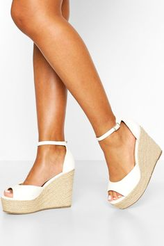 Shop boohoo's range of womens and mens clothing for the latest fashion trends you can totally do your thing in, with of new styles landing every day! White Wedge Sandals, White Espadrilles, White Wedges, Jelly Sandals, Graduation Shoes, Cute High Heels, Summer Feet, Bridesmaid Shoes, Kinds Of Shoes