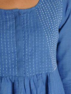 Blue-Ivory Kantha Embroidered diagonal yoke Kalidar Khadi Kurta Source by Salwar Neck Designs, Kurta Designs Women, Dress Neck Designs, Blouse Designs, Embroidery On Kurtis, Hand Embroidery Dress, Embroidery Suits, Khadi Kurta, Kurti Patterns