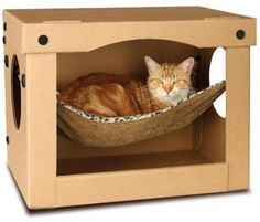 SnoozePal Cat Hammock in a box is the best cat bed for those finicky cats that love boxes Diy Jouet Pour Chat, Cardboard Cat House, Cardboard Boxes, Cardboard Storage, Cardboard Furniture, Diy Cat Toys, Cat Hammock, Hammock Ideas, Hanging Hammock