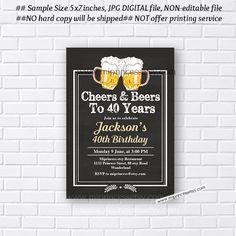Beer Birthday Invitation beer man Party for any von miprincess
