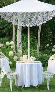 Aiken House & Gardens: Garden Tea... I love the repurposed table cloth over the umbrella frame work!
