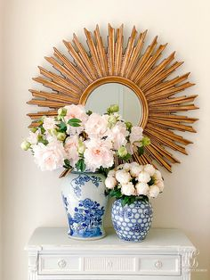 Simple Spring Faux Floral Arrangements - peony, cherry blossoms, hydrangeas simple arrangments you can make to brighten your home for spring White Floral Arrangements, Faux Flower Arrangements, Pink Hydrangea, Pink Peonies, Happy Jar, Window Box Flowers, Decor Pad, Spring Home Decor, Ginger Jars