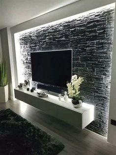 55 amazing wall design ideas living room design home design - Acrylic Painting Home Living Room, Living Room Decor, Apartment Living, Tv Wall Ideas Living Room, Living Room Grey, Kitchen Living Rooms, Living Toom Ideas, Living Room Walls, Small Living Room Ideas With Tv