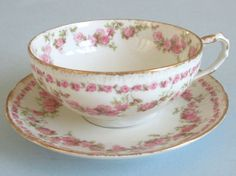 Antique Haviland LIMOGES Porcelain Cup & Saucer * Swags PINK ROSES w Gilt Trim | eBay