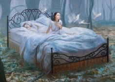 "(This is the Painting referenced in Carlos' interview w/ Dorian) Awakening, oil on canvas 65""x91"""