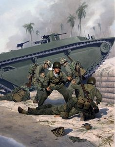 Unknown WWII heroes, US Navy Corpsman, GI Joe convention box illustration by Larry Selman