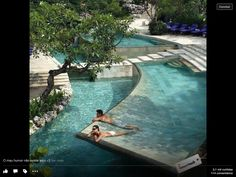 Now this is a solid idea. A slightly concave pool flooring that makes it easy to sunbathe and be in shallow water at the same time. Construct a pool in this way? Or one side of the pool? Maybe a wading pool out on the terrace to sunbath in privacy Hotels, Dream Pools, Cool Pools, Awesome Pools, Pool Designs, Jacuzzi, Water Features, Dream Vacations, Vacation List