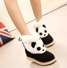 Amy Shoes - Panda Accent Boots #pandaaccentboots #boots, #pandaboots