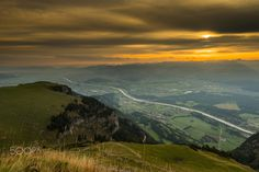 Sunrise over the Rhein Valley with the Rhein river, which is the border between Austria and Switzerland.