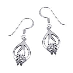 Aeravida Handmade Sterling Rose Bud Celtic Design Dangle Earrings