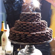 "Hosting an Oscars viewing party? Make a showstopping statement with this foolproof Oreo cookie ""cake"" tower."