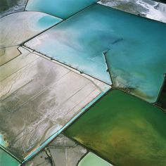 "by David Maisel - aerial landscape photography ""In his project Terminal Mirage...obscures the function, location, scale, and condition of his subject. No title names the Great Salt Lake or its environs as his subject. His images all share exquisite abstract colorations and design."""