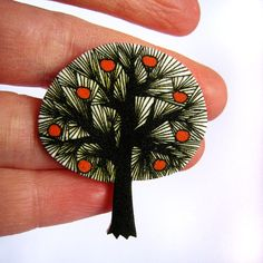 Apple Tree Brooch Pin Original Illustration by zyzanna on Etsy, £9.00