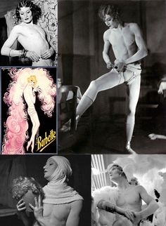 Barbette (1898–1973) was an acrobat, drag queen, contemporary of Man Ray, Jean Cocteau, Josephine Baker, Picasso, the toast of Paris in the 1920s. Born Vander Clyde Broadway in Round Rock, TX in 1899, he learned to walk the tightrope as a part of World Famous Alfaretta Sisters, where he began to dress as a woman. After touring with Vaudeville, he moved to Paris and quickly became immensely popular, noted for taking his wig off at the end of the act and thereby breaking the illusion.