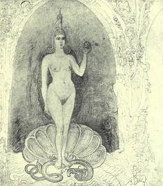 Venus à la coquille (1889) encre et crayon sur papier. S.b.g.: James Ensor (Belge)