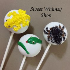 12 Creepy Crawly Cake Pops for reptile bug by SweetWhimsyShop Rice Krispie Cakes, Rice Krispies, Cake Pops, Animal Themed Food, Pop Art Food, Snake Party, Reptile Party, Wild Kratts, Art Drawings For Kids