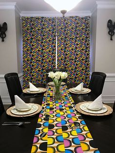 This beautifully vibrant table runners will make any space feel alive! All the colors and designs are sure to bring a little bit of Africa to any space. Excellent choice for table decor for an African theme home decor or party. Rooms Home Decor, Room Decor, African Theme, African Home Decor, Printed Curtains, Event Decor, Fabric Patterns, All The Colors, Table Runners
