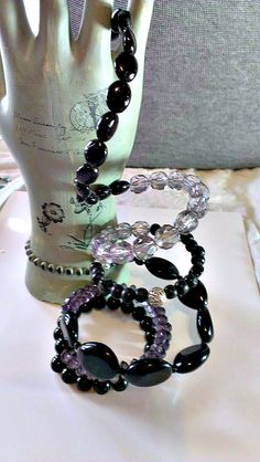 Chunky Purple and Black Memory wire Bracelet by Newyearcreations, $12.00
