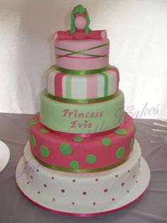 cakes baby shower girl | Five tier Girls Baby Shower cake