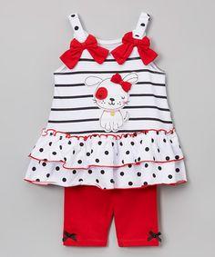 Look what I found on #zulily! White & Red Dog Tank & Shorts Set - Infant, Toddler & Girls #zulilyfinds