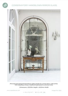 Conservatory mirrored and antiqued hand blown glass panels Conservatory by Rupert Bevan Ltd Origami Wall Art, Antique Mirror Glass, Ceramic Wall Tiles, Top Interior Designers, Geometric Wall, Design Show, Glass Design, Hand Blown Glass, Glass Panels