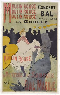From Indianapolis Museum of Art at Newfields, Henri de Toulouse-Lautrec, Moulin Rouge-La Goulue Color lithograph, 67 × 46 in Henri De Toulouse Lautrec, Vintage French Posters, French Vintage, Vintage Images, Poster Wall, Poster Prints, Plakat Design, Puzzle, Exhibition Poster