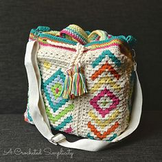 Boho Chic Mosaic Tote by A Crocheted Simplicity