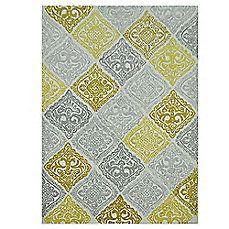 image of Jadou Tufted Wool Rug in Malibu Gold/Grey